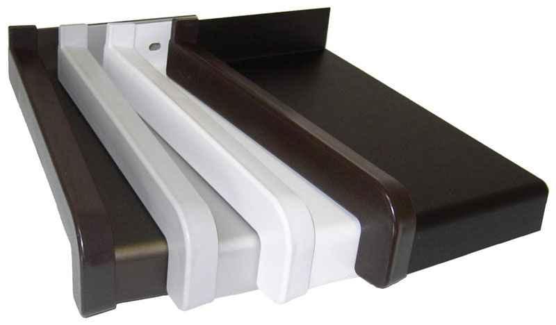 Parapet hliníkový tažený, tmavě hnědý, vyložení 300 mm